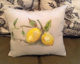 Hand painted lemon pillow