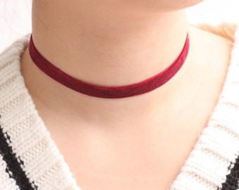 Basic Red Wine Velvet Choker, Choker without charm, Simple Choker, Base Necklace, Womens Choker, Chic Choker, Gift for girls