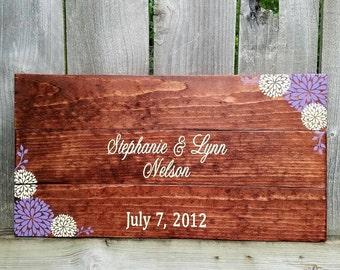 Rustic Guest Book - Wedding Guest Book - Rustic Wedding - Wooden Guest Book - Custom Guest Book - Flower Guest Book