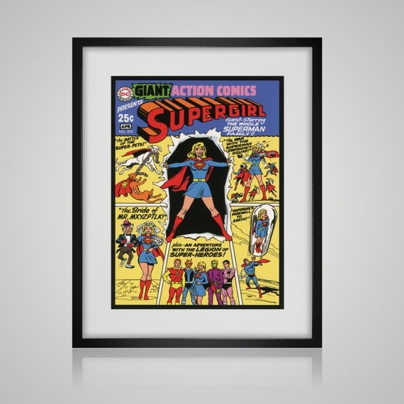 Book Cover Wall Art : Framed wall art vintage comic book cover supergirl