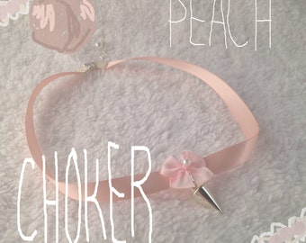 Peach Choker with Flower and Spike