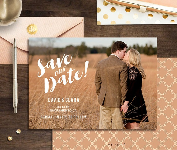 Save the Date Template for Photographer, Engagement Announcement Card, Photography Templates, psd Printable Save The Date Postcard - SD001