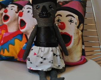 A Cat called Darcy...Eco-friendly, modern plush soft toy with reversible skirt