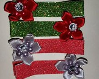 Christmas Flower Clips 4 pack