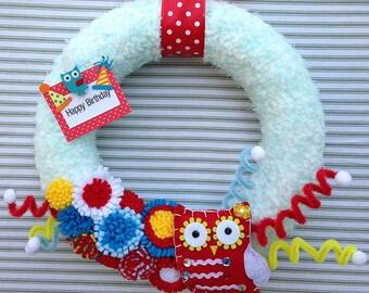 Owl Wreath, Owl Yarn Wreath, Yarn Owl Wreath, Birthday Wreath, Yarn Wreath, Happy Birthday Wreath, Owl Birthday Wreath, Blue Yarn Wreath