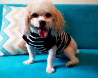 Black and white sweater for pets,Dog sweater with stripes,Knitting clothes for cats,Puppies wear,Small dog sweater,Knitted dog sweater
