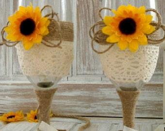Wedding Champagne Glasses Sunflower Wedding Glasses Wedding Rustic Toasting Flutes Lace twine Bride and Groom Glasses  Wedding Mr & Mrs
