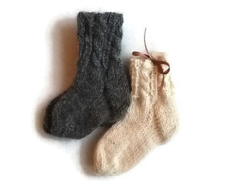 alpaca sock, ALPACA WOOL baby socks, Hand knit baby socks, knit baby socks, newborn socks, white baby socks, baby newborn gift