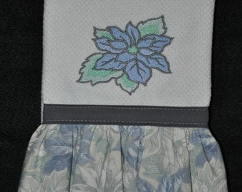 "Embroidered Dish Towel ""Blue Poinsettia"""