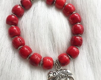 Bracelet - Red Coral Indian Elephant Charm Stretch - with Silver-Plated Accent Beads