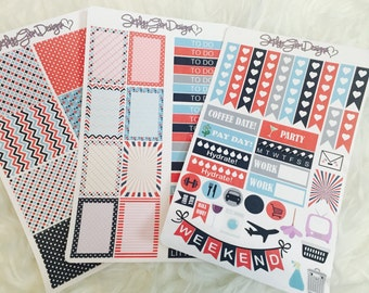 Stripes and Stars Weekly Sticker Kit | Erin Condren & Plum Paper Planner