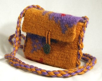 Felted purse Liberty Serenity Sack crossbody bag shoulder bag felted bag wool crocheted bag 6 1/2 by 5 inches