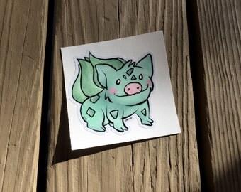"""Cute Little Pig """"Bulbaboar"""" Piggy Vinyl Die Cut Art Decal Indoor/Outdoor Sukoshi Buta Mini Pig Pigxel Art Pokemon Nintendo Bulbasaur"""