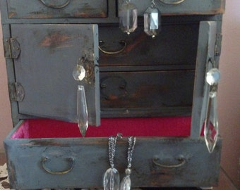 Vintage Dark Grey Jewelry Box, Shabby Chic!