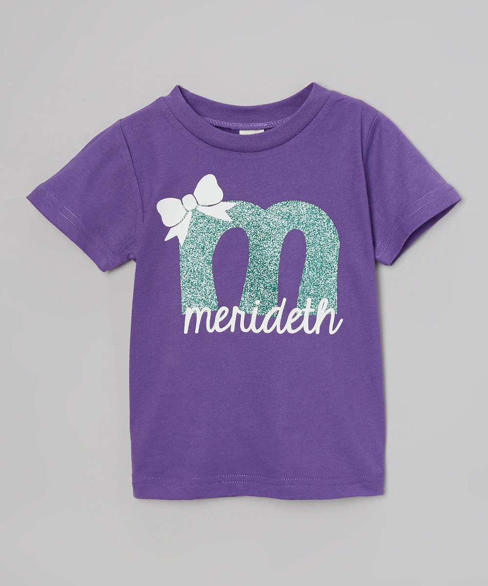 Glitter Initial T Shirt Glitter Personalized Initial Name Bow