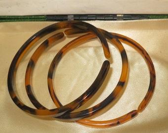 3 Lovely vintage 1940s Art Deco faux tortoise shell bangle bracelets