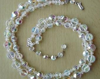 Vintage 1950s 2 strand aurora borealis crystal necklace