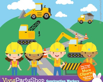 Construction Workers Clipart, Printable, Instant download, PNG files, truck clipart, truck png, crane clipart, children clipart, C#036