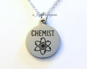 Chemist Jewelry, Chemistry Science Necklace, Gift for student masters Silver Charm birthday Christmas present Laser Engraved Stainless Steel