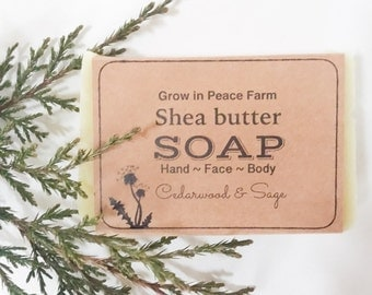 Cedarwood Sage,  Shea Butter Soap - All Natural Soap, Vegan Soap, Homemade Soap, Handmade Soap, Handcrafted Soap