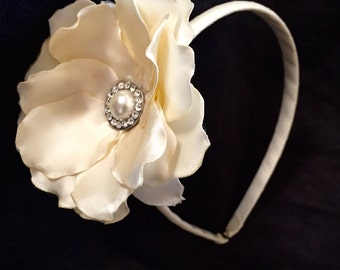 Ivory Headband with Handmade Ivory Satin Flower