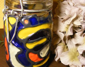 Upcycled hand painted small jar