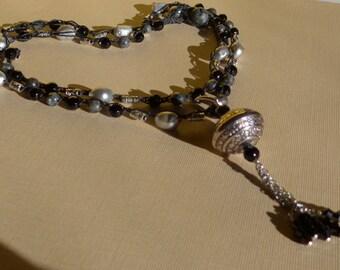 Crochet Beaded Necklace, Boho Necklace, Black Necklace, Crochet Wrap Bracelet, Labradorite Necklace, Crochet Bracelet