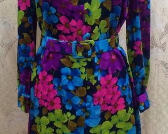 1970s Floral Print Hippie Dress/Boho dress