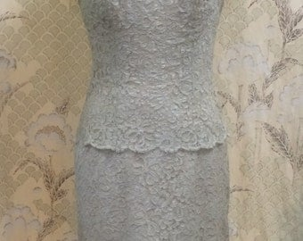 Vintage  Lord and Taylor  Lace  Dress/1960s Taupe Lace Dress