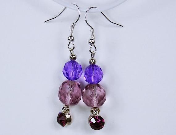 Earrings Purple glitter rhinestones with purple beads and silver-colored earrings unique amethyst jewelry violet pendant earrings