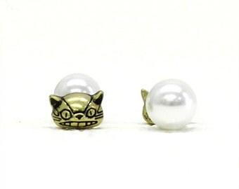 Earrings / My Neighbor Totoro Studio Ghibli / Pearl Earrings Nekobus