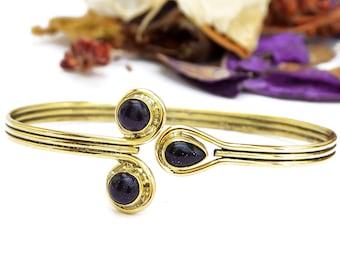 Brass Stone Bracelet, Brass Bangle, Gemstone Bracelet, Indian Bracelet, Gold Bangle, Bangle Bracelet, Boho Bracelet, Blue Stones