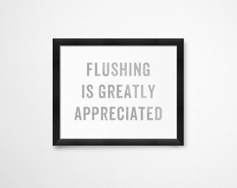 Kids Bathroom Decor, Flushing is Greatly Appreciated, Printable Art, Bathroom Wall Decor, Bathroom Printables, Bathroom Decor
