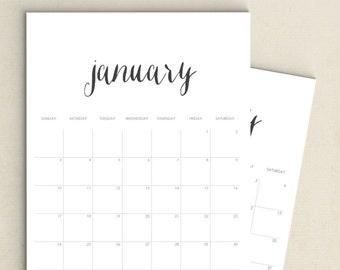 Minimalist Downloadable Calendar 2016