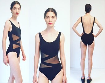 Vtg 90s Black Sheer Cut Out Bathing Suit One Piece Swimsuit