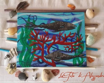 Fish acrylic painting on canvas/cardboard Fish acrylic painting on linen cardboard
