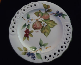 """Tiffany Plates Italy Majolica with a Pierced Botanic Design signed at the back """"Designed by Brunnell"""" Made in Italy c. Mid-Century"""