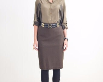 Olive Wool Pencil Skirt // Fitted Pencil Skirts // Knee Length Skirt For Women