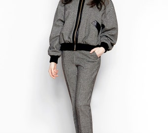 Houndstooth Wool Bomber Jacket // Kenny Jacket // Sample Sale + Ready To Ship
