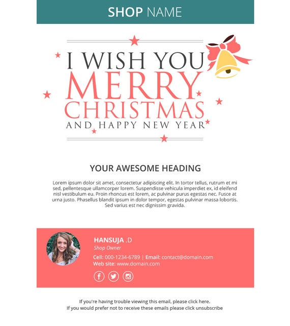 christmas email template responsive html email mailchimp. Black Bedroom Furniture Sets. Home Design Ideas