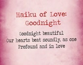 print haiku of love goodnight poem typewriter letter 5x7 and 8x10 matte signed art