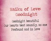 print haiku of love goodnight poem typewriter letter 5x7 and 8x10 matte signed art