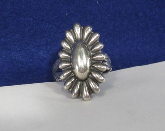 Vintage Sterling Silver Flower Ring One Size Fits All