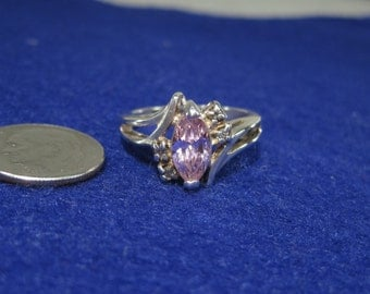Vintage Sterling Silver Pink Ice Ring with White Gemstone Accents Size 7