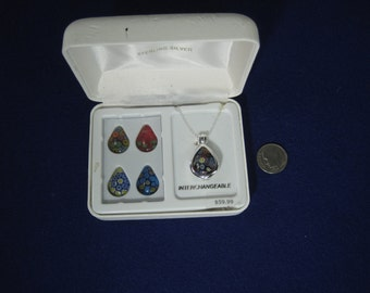 Sterling Silver Interchangeable Pendant Set New Old Stock