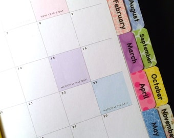 CALENDAR / PLANNER Pastel Multicolored Tabs with Adhesive (Looking for a different pattern from my shop?  Please contact me.)