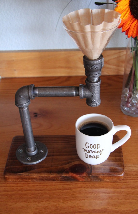 Industrial pour over coffee maker reclaimed wood base How to make coffee with a coffee maker