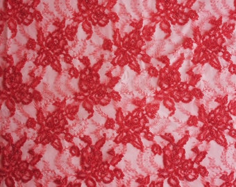 Hand-embroidered French Lace with red beads