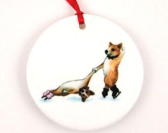 Ice Skating Corgi Dogs Death Spiral Porcelain Ornament