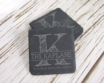 Monogram & Last Name Coasters, Slate Coasters, Set of 4, Laser Engraved, Custom Coasters, Personalized Coasters, Wedding, Housewarming Gift